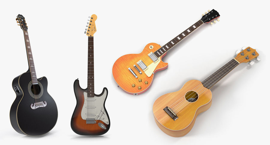 Guitars Collection 2 royalty-free 3d model - Preview no. 2