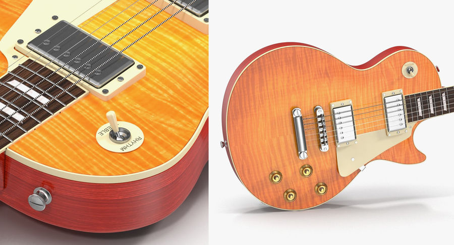 Guitars Collection 2 royalty-free 3d model - Preview no. 10