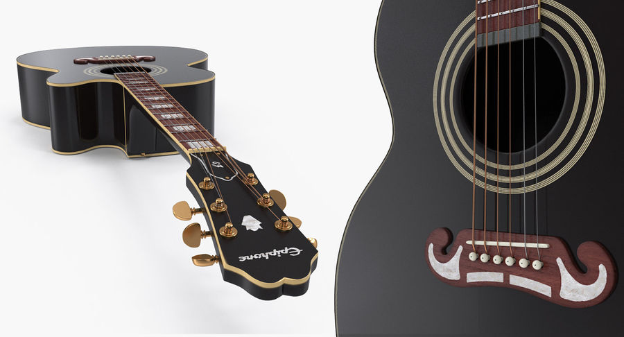 Guitars Collection 2 royalty-free 3d model - Preview no. 8