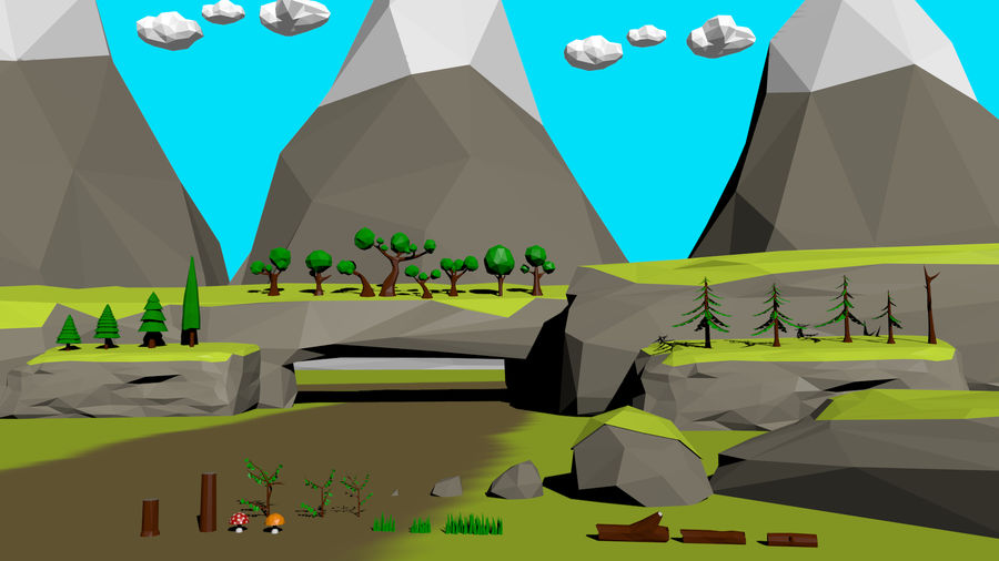 Forest Low Poly Assets royalty-free 3d model - Preview no. 1