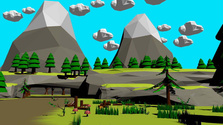 Forest Low Poly Assets royalty-free 3d model - Preview no. 2