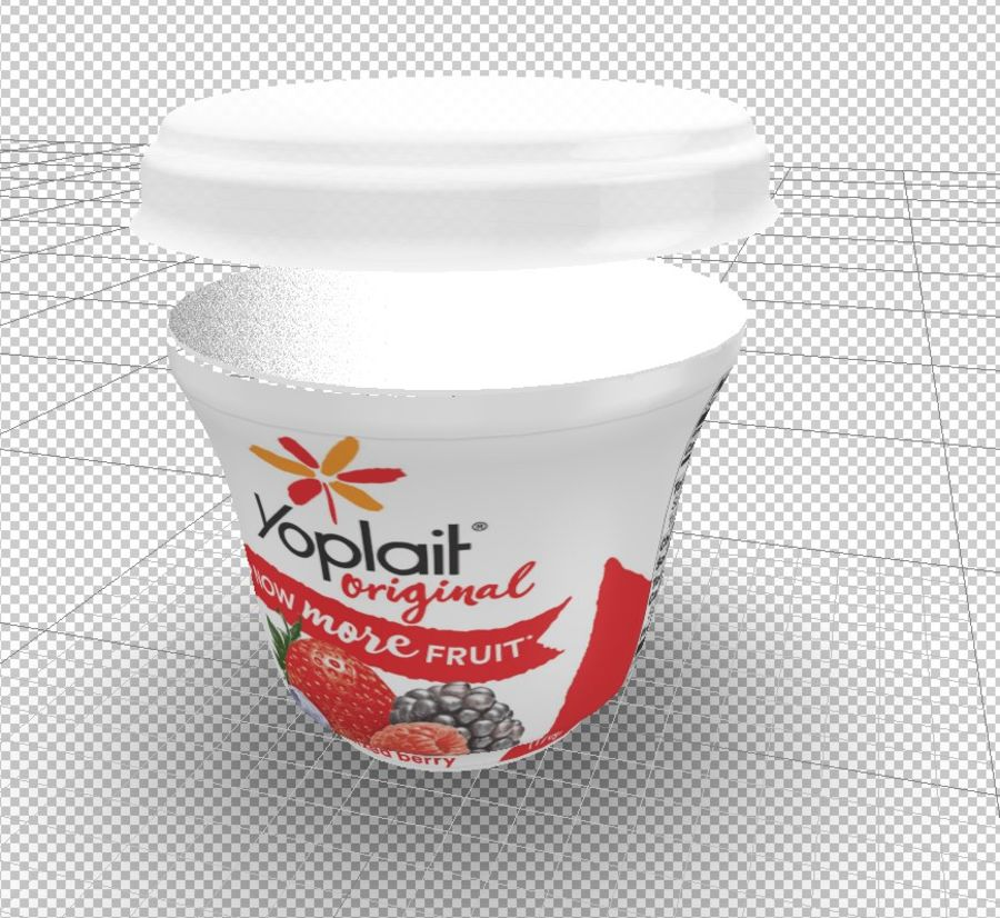 Yogurt packaging - vase with lid and aluminum foil royalty-free 3d model - Preview no. 2