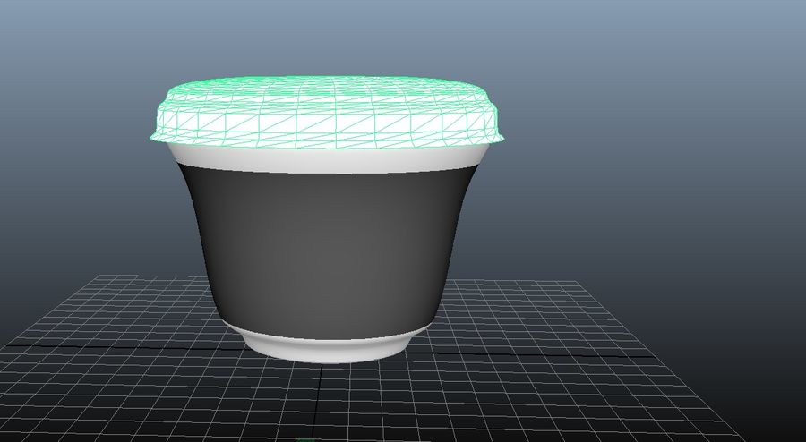 Yogurt packaging - vase with lid and aluminum foil royalty-free 3d model - Preview no. 3