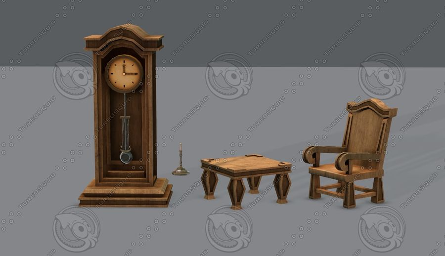 Juego de muebles para juego royalty-free modelo 3d - Preview no. 4