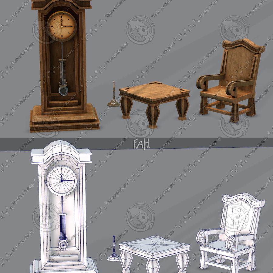 Juego de muebles para juego royalty-free modelo 3d - Preview no. 2