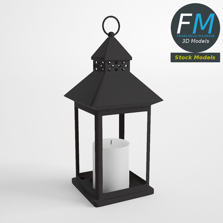 Lantern with Candle 1 royalty-free 3d model - Preview no. 2