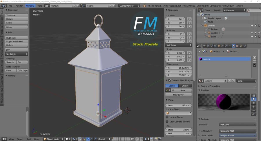 Lantern with Candle 1 royalty-free 3d model - Preview no. 10