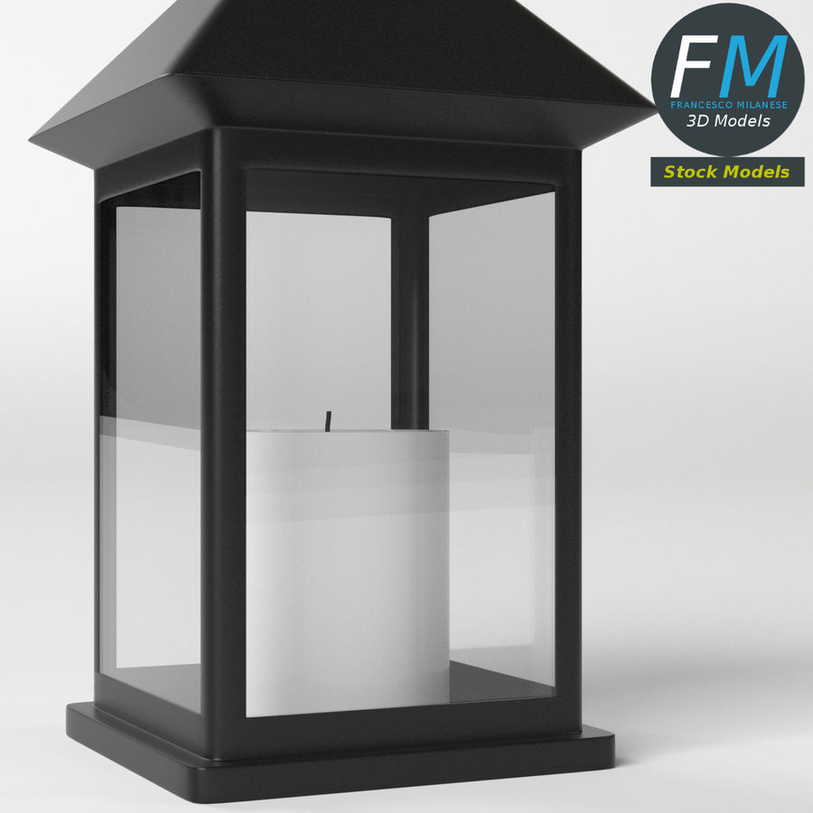 Lantern with Candle 1 royalty-free 3d model - Preview no. 6
