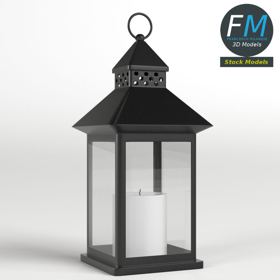 Lantern with Candle 1 royalty-free 3d model - Preview no. 5