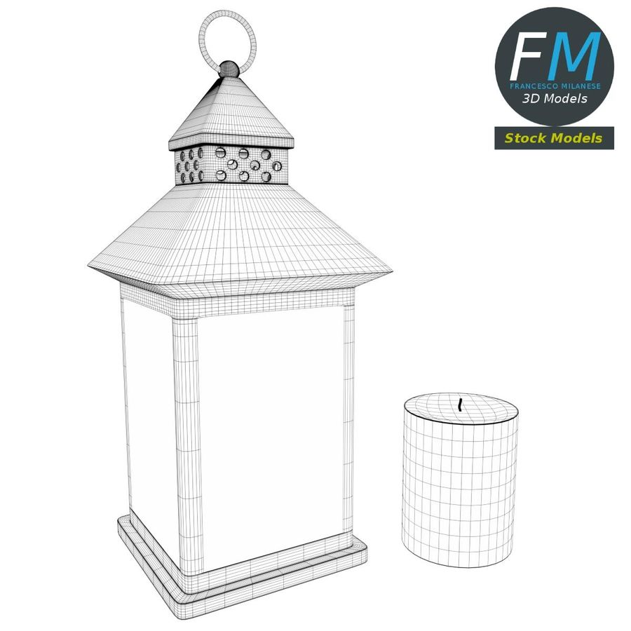 Lantern with Candle 1 royalty-free 3d model - Preview no. 9