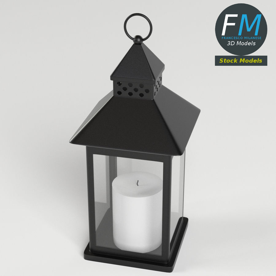 Lantern with Candle 1 royalty-free 3d model - Preview no. 3