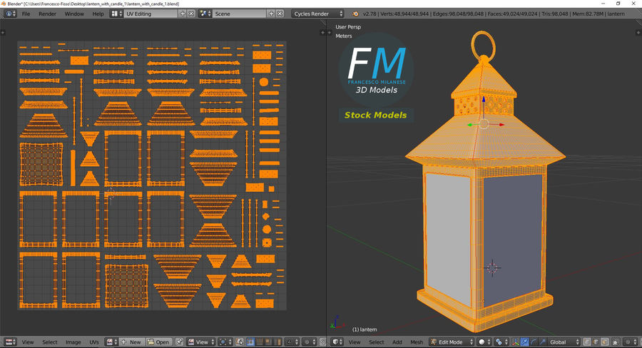 Lantern with Candle 1 royalty-free 3d model - Preview no. 11