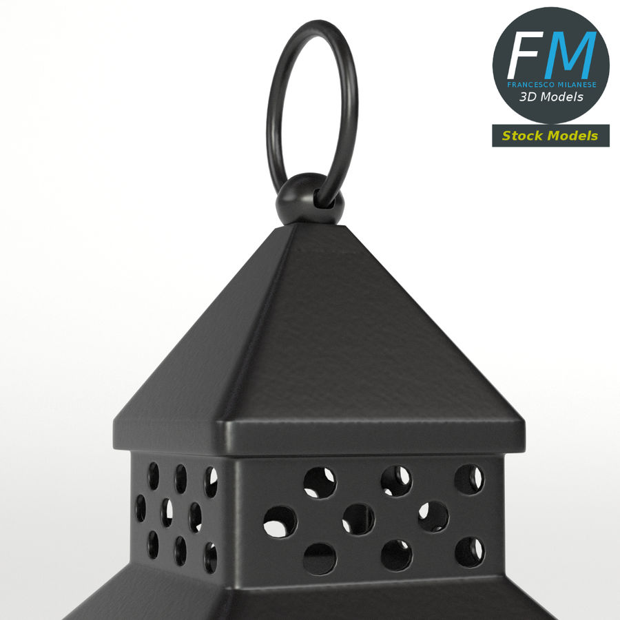 Lantern with Candle 1 royalty-free 3d model - Preview no. 4