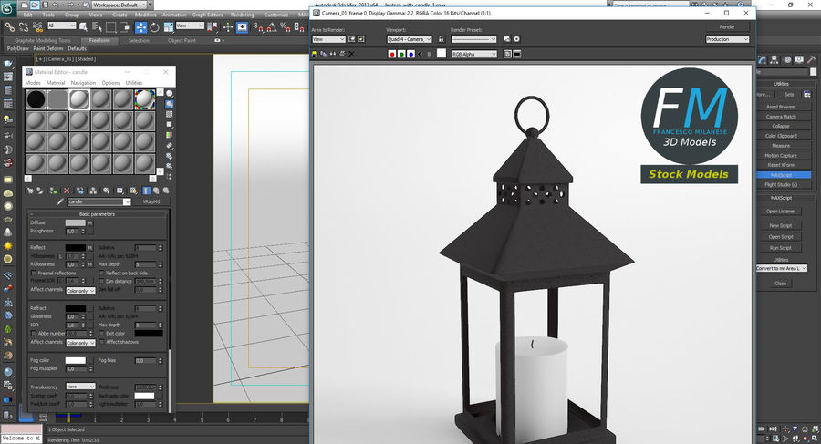 Lantern with Candle 1 royalty-free 3d model - Preview no. 12
