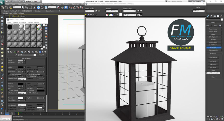 Lantern with Candle 2 royalty-free 3d model - Preview no. 12