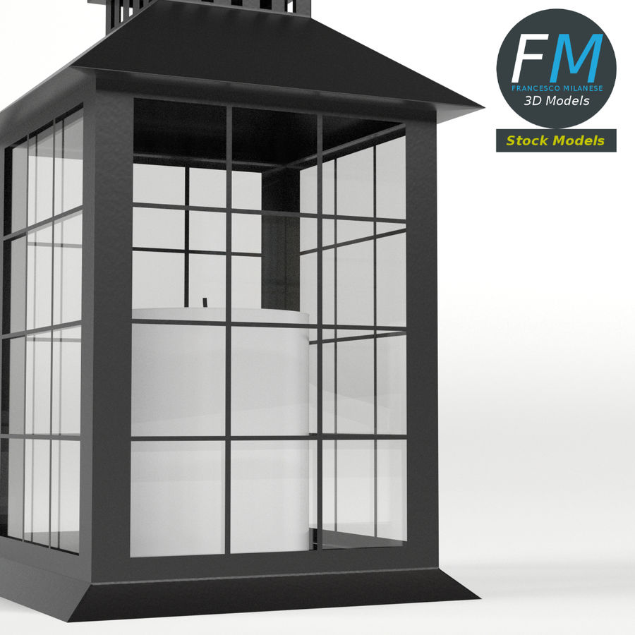 Lantern with Candle 2 royalty-free 3d model - Preview no. 5