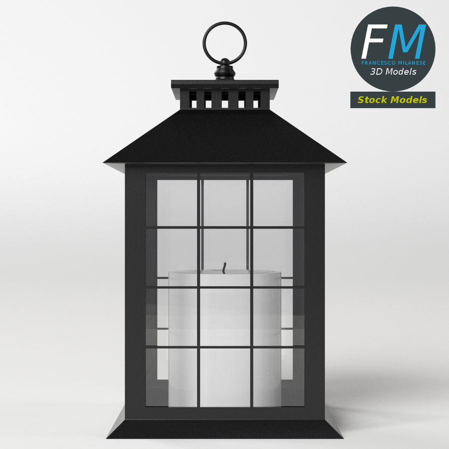 Lantern with Candle 2 royalty-free 3d model - Preview no. 6
