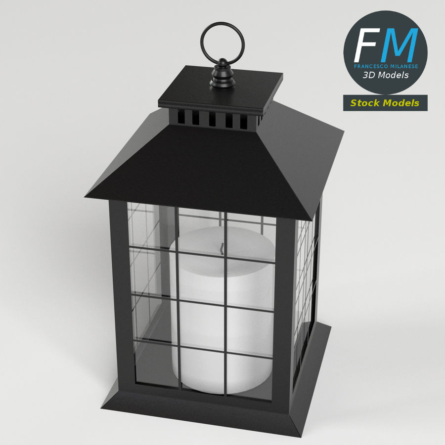 Lantern with Candle 2 royalty-free 3d model - Preview no. 3