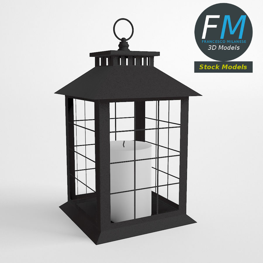 Lantern with Candle 2 royalty-free 3d model - Preview no. 2
