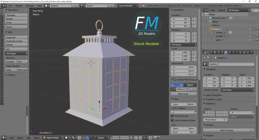 Lantern with Candle 2 royalty-free 3d model - Preview no. 10