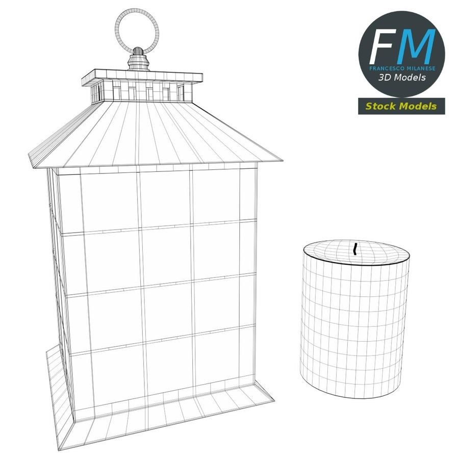 Lantern with Candle 2 royalty-free 3d model - Preview no. 9