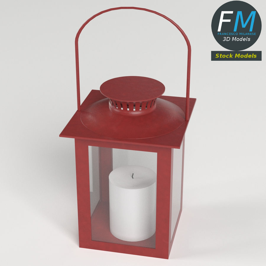 Lantern with Candle 3 royalty-free 3d model - Preview no. 3
