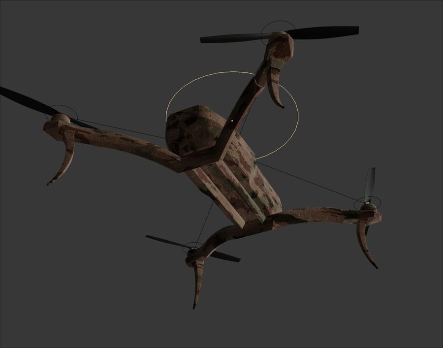 Quadrocopter Drone Kamuflajı royalty-free 3d model - Preview no. 10