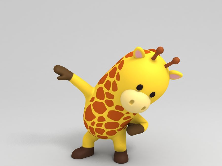 Rigged Cartoon Giraffe royalty-free 3d model - Preview no. 3