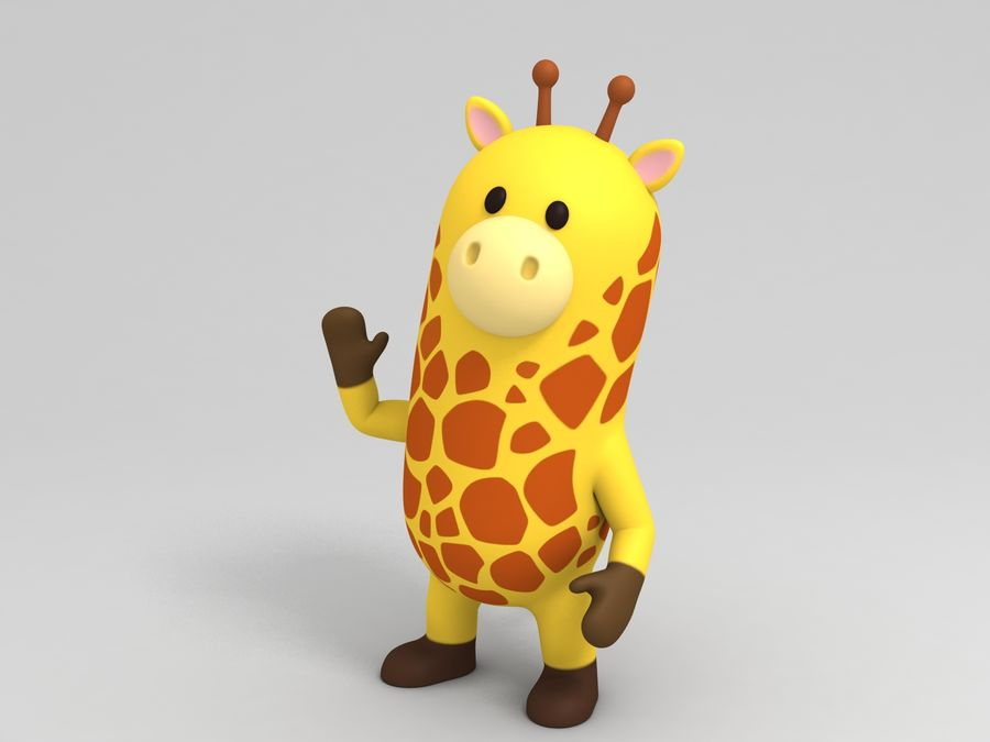 Rigged Cartoon Giraffe royalty-free 3d model - Preview no. 2