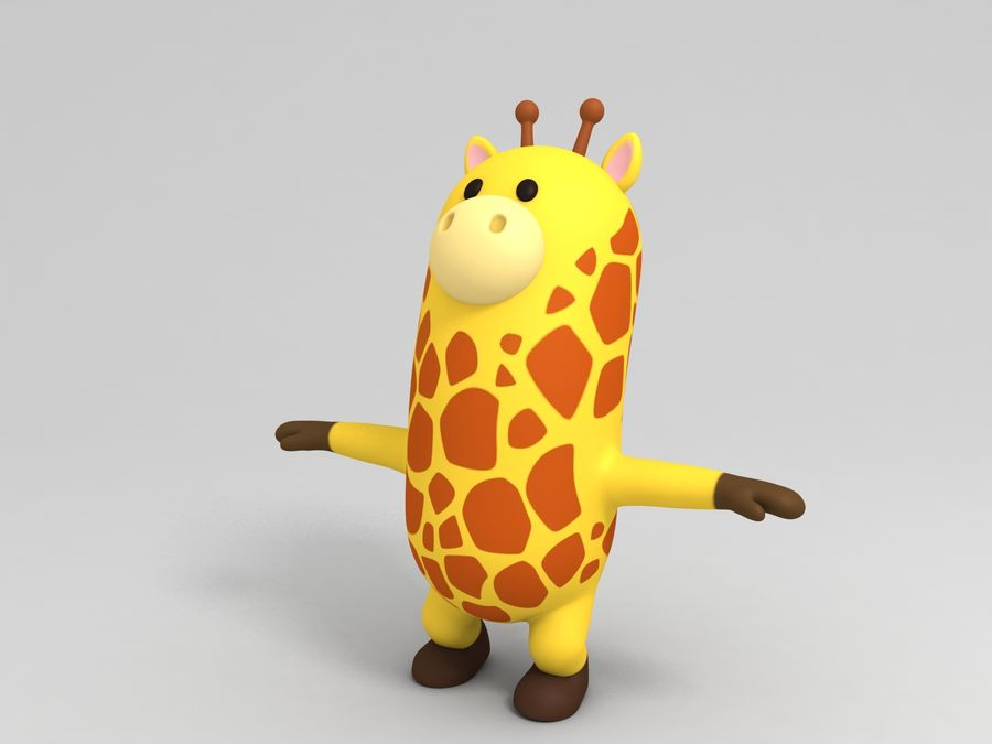 Rigged Cartoon Giraffe royalty-free 3d model - Preview no. 4
