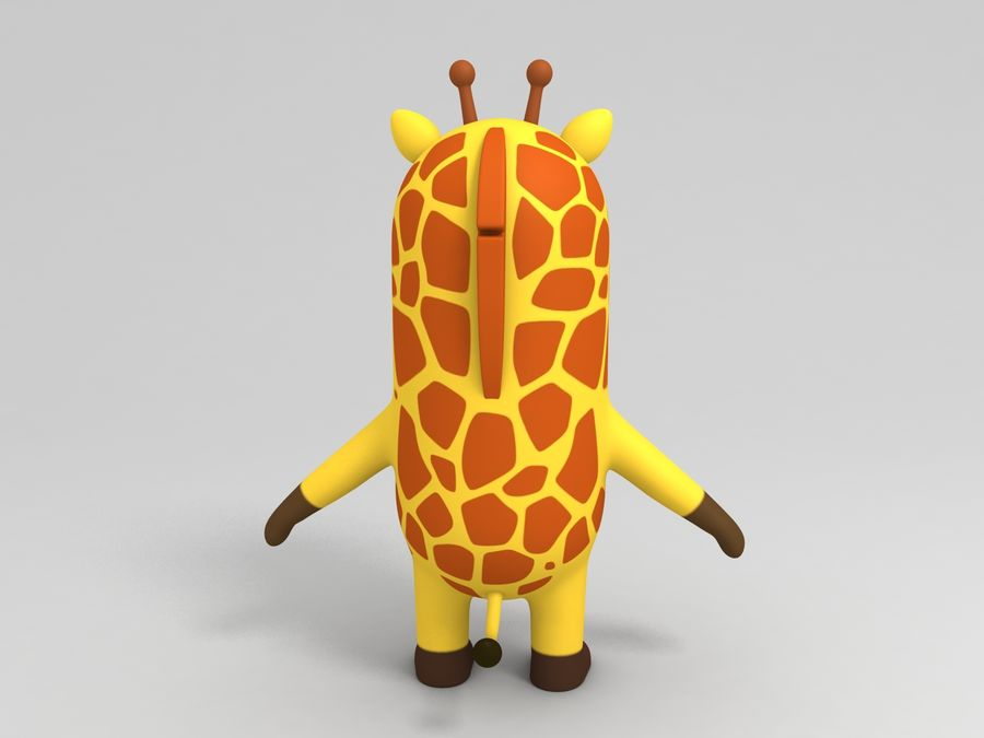 Rigged Cartoon Giraffe royalty-free 3d model - Preview no. 9