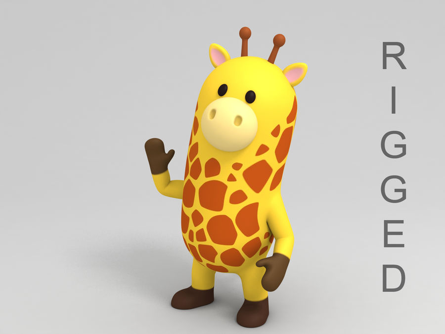 Rigged Cartoon Giraffe royalty-free 3d model - Preview no. 1