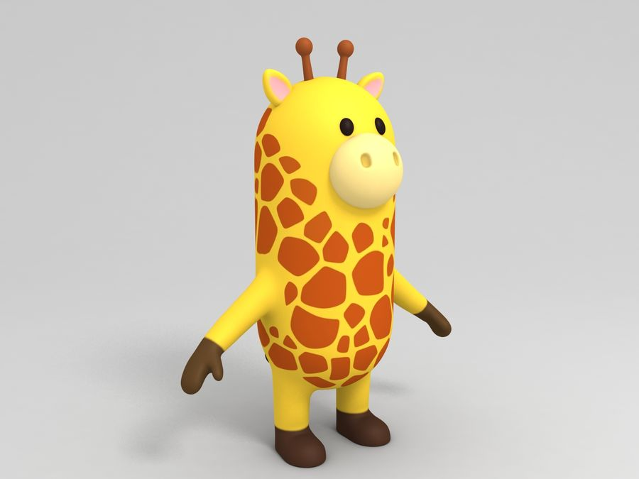 Rigged Cartoon Giraffe royalty-free 3d model - Preview no. 8
