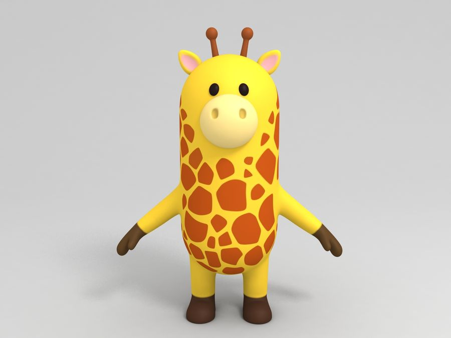 Rigged Cartoon Giraffe royalty-free 3d model - Preview no. 6