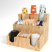 Bar Holder Organizer Paper Cup Dispenser Wood 3d model