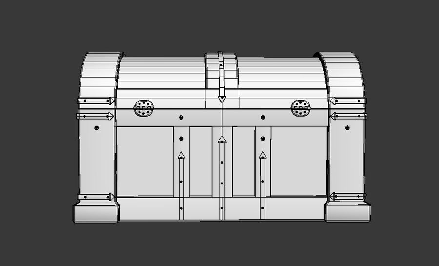 Wooden chest royalty-free 3d model - Preview no. 5