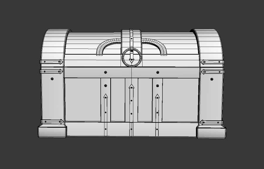 Wooden chest royalty-free 3d model - Preview no. 6