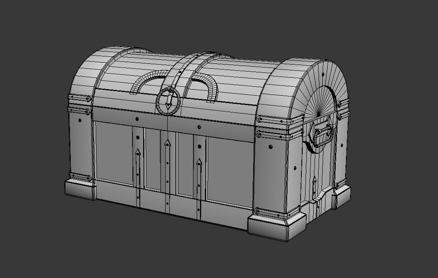 Wooden chest royalty-free 3d model - Preview no. 8