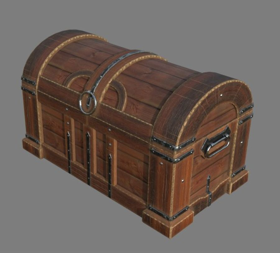 Wooden chest royalty-free 3d model - Preview no. 1
