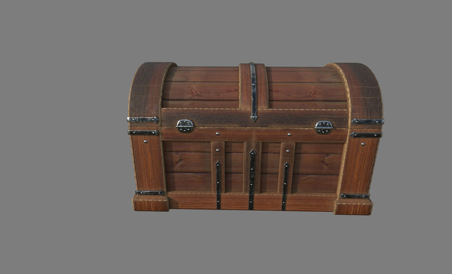 Wooden chest royalty-free 3d model - Preview no. 3