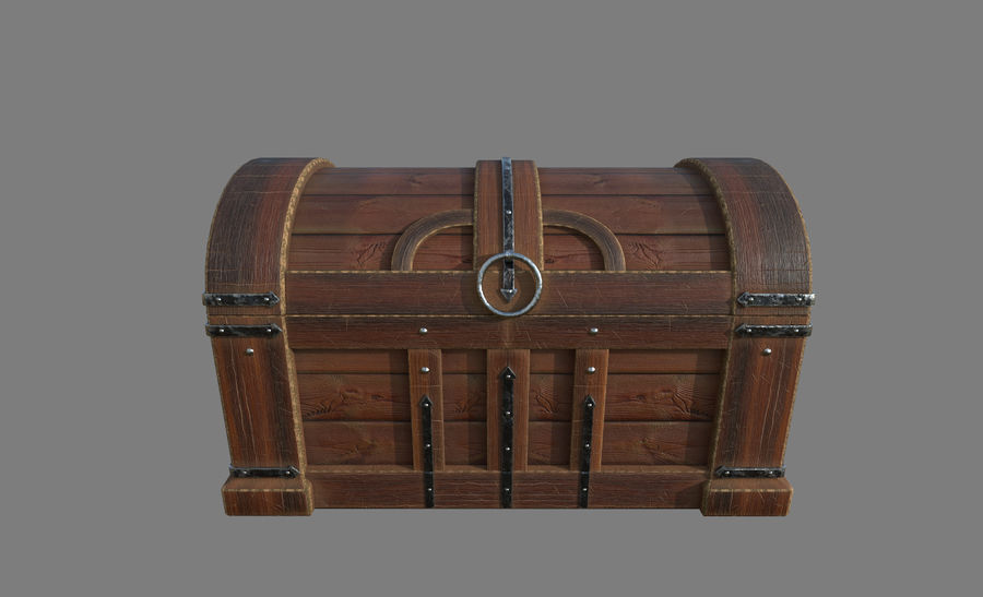 Wooden chest royalty-free 3d model - Preview no. 2