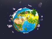 Desenhos animados Low Poly Earth Planet UVW 3d model