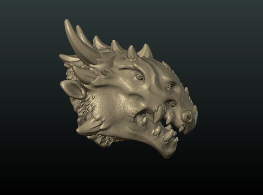 드래곤 헤드 II royalty-free 3d model - Preview no. 15