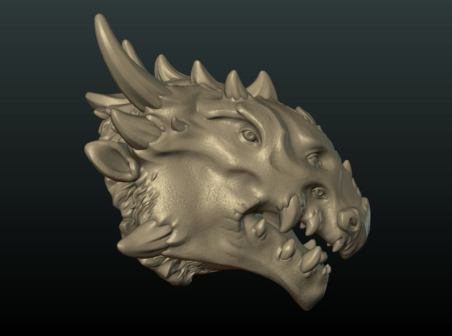 드래곤 헤드 II royalty-free 3d model - Preview no. 3