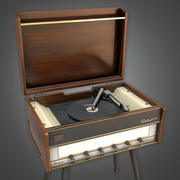Retro Record Player (Midcentury Mod) - PBR Game Ready 3D modelo 3d