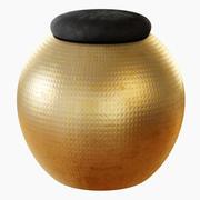 Spherical Stool Black Velvet 3d model