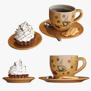 Kaffeetasse mit Kuchen 3d model