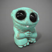 Cute Green Monster Of Clay 3d model