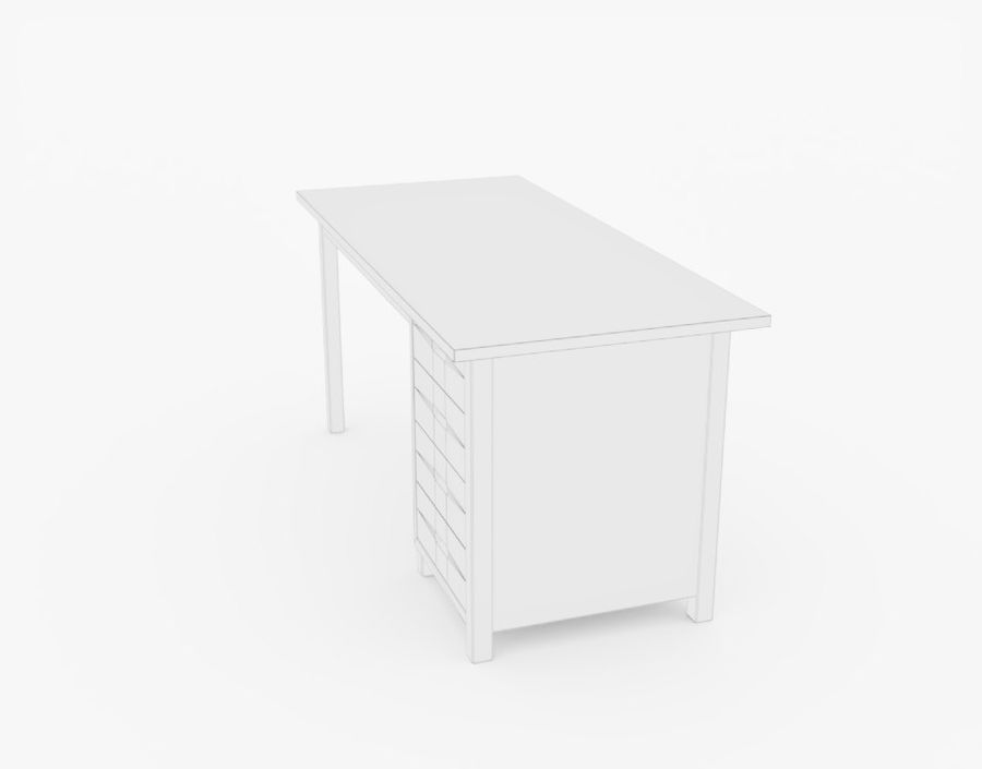 Wooden Desk royalty-free 3d model - Preview no. 12