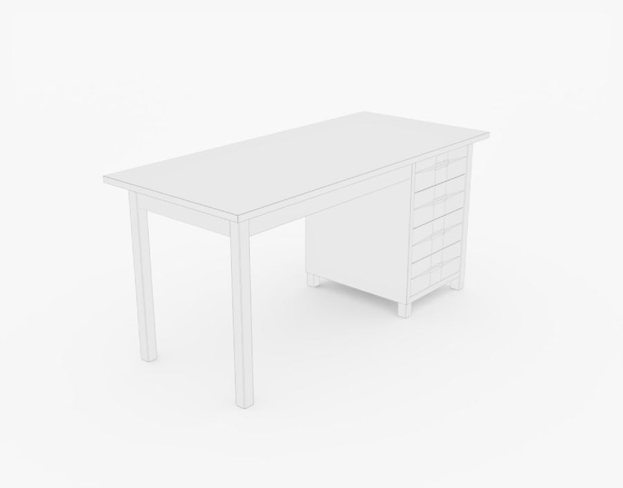 Wooden Desk royalty-free 3d model - Preview no. 18